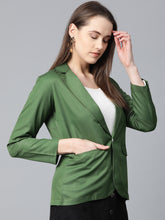 Load image into Gallery viewer, Jompers Women Olive-Green Solid Single-Breasted Smart Casual Blazer