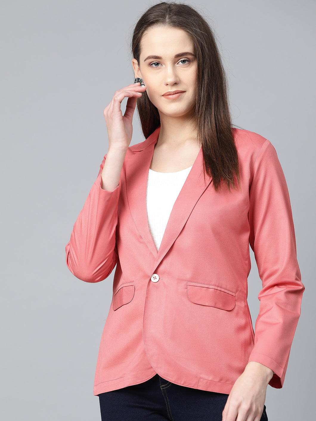 Jompers Women Peach Solid Single-Breasted Smart Casual Blazer
