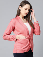 Load image into Gallery viewer, Jompers Women Peach Solid Single-Breasted Smart Casual Blazer