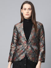 Load image into Gallery viewer, Jompers Women Blue & Maroon Satin Finish Printed Single-Breasted Blazer