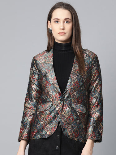 Jompers Women Blue & Maroon Satin Finish Printed Single-Breasted Blazer