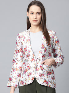 Jompers Women Grey & Pink Satin Floral Print Single-Breasted Casual Blazer