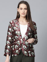 Load image into Gallery viewer, Jompers Women Maroon & Green Satin Floral Print Single-Breasted Casual Blazer