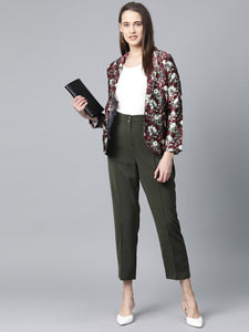 Jompers Women Maroon & Green Satin Floral Print Single-Breasted Casual Blazer