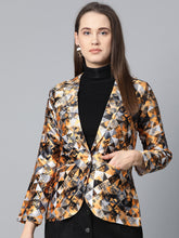 Load image into Gallery viewer, Jompers Women Mustard Yellow & Grey Satin Finish Printed Single-Breasted Blazer