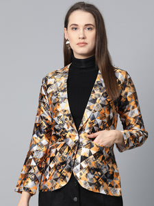 Jompers Women Mustard Yellow & Grey Satin Finish Printed Single-Breasted Blazer