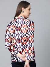 Load image into Gallery viewer, Jompers Women Multi-Coloured Satin Finish Printed Single-Breasted Blazer