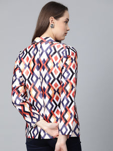 Jompers Women Multi-Coloured Satin Finish Printed Single-Breasted Blazer