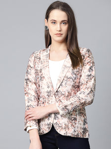 Jompers Women Peach-Coloured & Grey Satin Printed Single-Breasted Casual Blazer