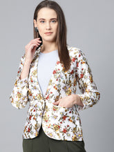 Load image into Gallery viewer, Jompers Women White & Yellow Satin Finish Floral Print Single-Breasted Blazer