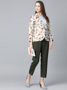 Jompers Women White & Yellow Satin Finish Floral Print Single-Breasted Blazer