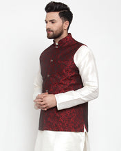 Load image into Gallery viewer, Jompers Men Maroon-Coloured & Black Woven Design Nehru Jacket