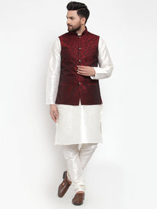 Jompers Men Maroon-Coloured & Black Woven Design Nehru Jacket