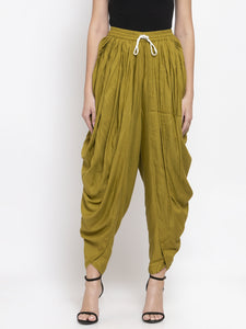 Jompers Women Green Solid Dhoti