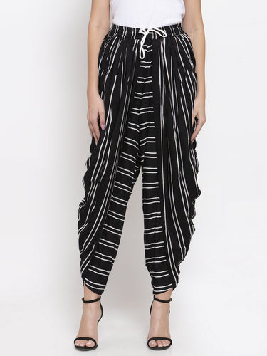 Jompers Women Black Stripped Dhoti