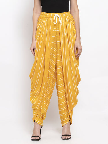 Jompers Women Mustard Stripped Dhoti