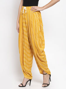 Jompers Women Mustard Stripped Dhoti (JOD 2130 Mustard)