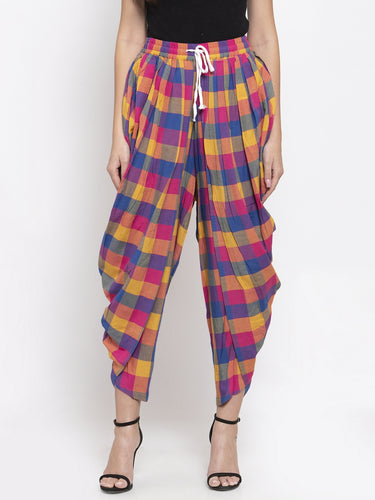 Jompers Women Pink and Yellow Checked Dhoti