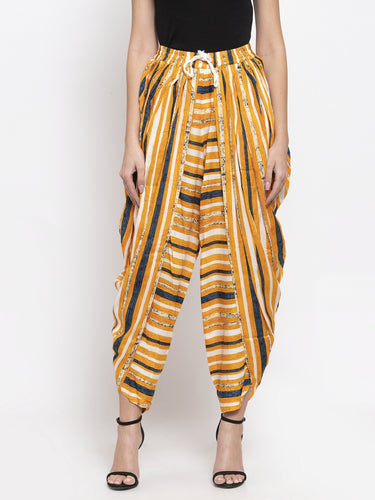 Jompers Women Yellow and Blue Stripped Dhoti
