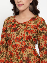 Load image into Gallery viewer, Jompers Women Brown & Green Floral Print Angrakha A-Line Kurta (JOK 1333 Brown)