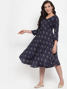 Women Navy Blue Printed Fit and Flare Ethnic Dress (JOK 1334 Blue)