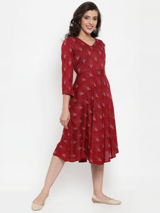 Women Maroon Printed Fit and Flare Ethnic Dress (JOK 1334 Maroon)