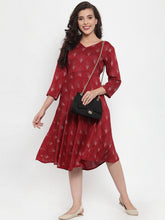 Load image into Gallery viewer, Women Maroon Printed Fit and Flare Ethnic Dress