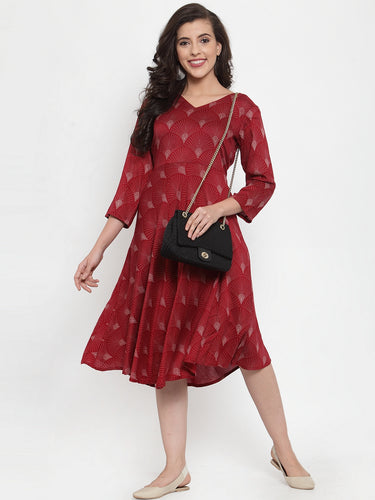 Women Maroon Printed Fit and Flare Ethnic Dress
