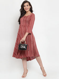 Women Maroon Printed Fit and Flare Ethnic Dress (JOK 1335 Maroon)