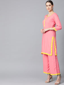 Jompers Women Peach-Coloured & Yellow Solid Kurta with Palazzos & Dupatta