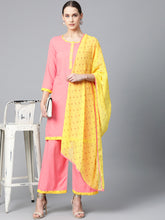 Load image into Gallery viewer, Jompers Women Peach-Coloured & Yellow Solid Kurta with Palazzos & Dupatta