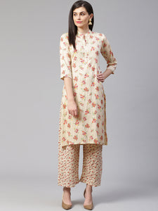 Jompers Women Cream-Coloured & Red Floral Print Kurta with Palazzos