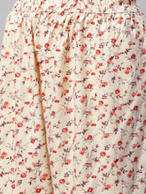 Load image into Gallery viewer, Jompers Women Cream-Coloured & Red Floral Print Kurta with Palazzos