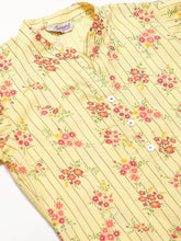Load image into Gallery viewer, Jompers Women Yellow-Coloured & Red Floral Print Kurta with Palazzos