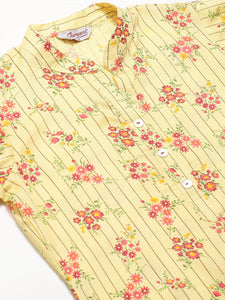 Jompers Women Yellow-Coloured & Red Floral Print Kurta with Palazzos