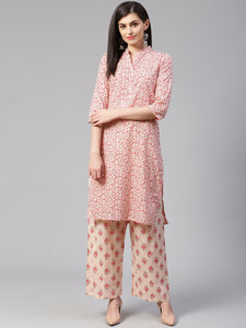 Jompers Women Pink Floral Printed Kurta with Palazzos
