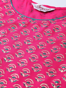 Women Pink & Golden Yoke Design Kurta with Palazzos