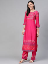 Load image into Gallery viewer, Women Pink & Golden Yoke Design Kurta with Palazzos