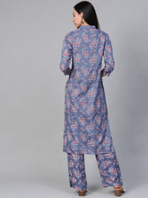 Load image into Gallery viewer, Women Grey & Pink Block Printed Kurta with Palazzos