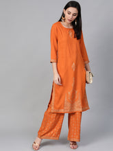 Load image into Gallery viewer, Women Orange & Golden Block Printed Kurta with Palazzos