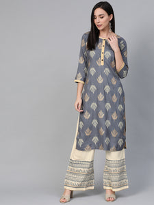 Women Grey & Cream-Coloured Block Print Kurta with Palazzos