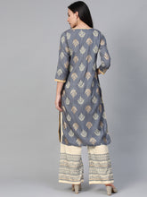 Load image into Gallery viewer, Women Grey & Cream-Coloured Block Print Kurta with Palazzos