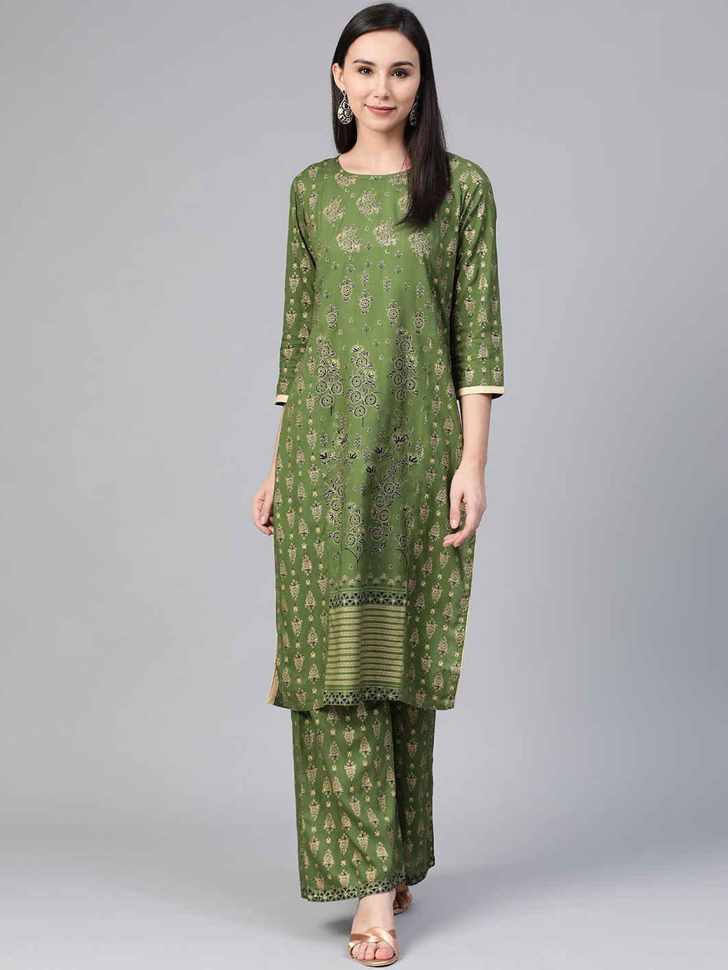Women Green & Golden Block Printed Kurta with Palazzos ( JOKPL 1347 Green )