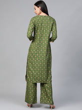 Load image into Gallery viewer, Women Green & Golden Block Printed Kurta with Palazzos ( JOKPL 1347 Green )