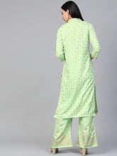 Load image into Gallery viewer, Women Green & Golden Block Print Kurta with Palazzos