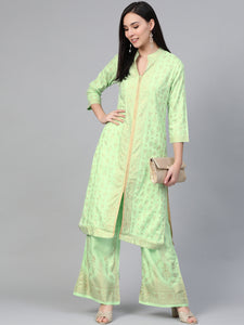 Women Green & Golden Block Print Kurta with Palazzos