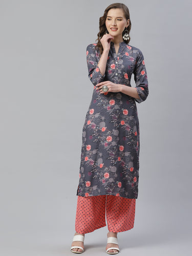 Jompers Women Charcoal Grey & Pink Floral Printed Kurta with Palazzos