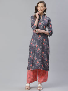 Jompers Women Charcoal Grey & Pink Floral Printed Kurta with Palazzos ( JOKPL 1353 Grey )
