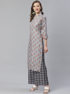 Jompers Women Grey & Beige Floral Printed Kurta with Palazzos