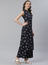 Load image into Gallery viewer, Jompers Women Black & White Floral Printed Kurta with Palazzos ( JOKPL 1356 Black )